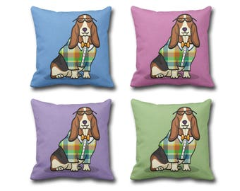Basset Hound Pillow Cover - (Cover Only, Insert not included) - Choose Background Color