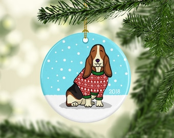 Basset Hound Ornament - Ugly Sweater Basset Hound Ornament