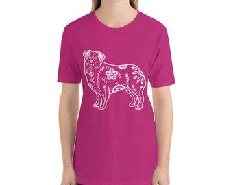 Sugar Skull Australian Shepherd - Short-Sleeve Unisex T-Shirt