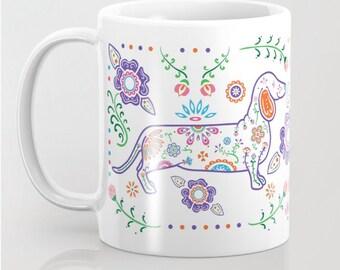 Sugar Skull Color Dachshund Mug - Dachshund Coffee Mug - Dia de los muertos - Dia de los Doxies - Pet Lover Gift- Doxie Mug