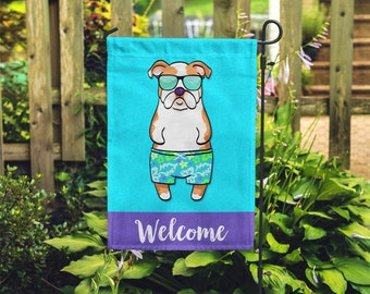 English Bulldog Garden Flag (BOY) - Unique English Bulldog Gift - BOY Sunbathing English Bulldog Garden Flag