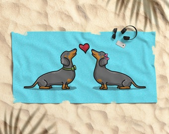 "Dachshund | Dachshund Beach Towel - 30"" x 60"" or 36"" x 72"" - I Heart Dachshunds Beach Towel 