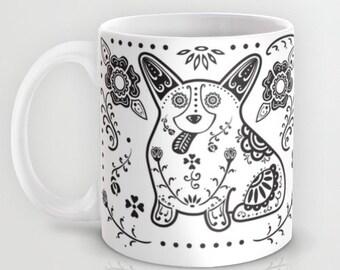 Corgi - Sugar Skull Corgi Mug - Pembroke Welsh Corgi Coffee Mug - Dia de los muertos - Dia de los corgis - Corgi Lover Gift- Corgi Mug