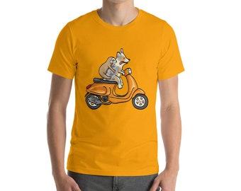 Merle Corgi with Sloth on Scooter - Short-Sleeve Unisex T-Shirt