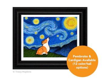 """Corgi  """"Starry Baroo"""" Art Print (UNframed) - 12 Corgi colors/tails to choose from - Pembroke Welsh Corgi - Cardigan Welsh Corgi"""