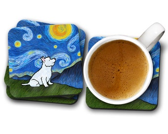Westie West Highland Terrier  Coasters - Set of 4 - Starry Night Westie