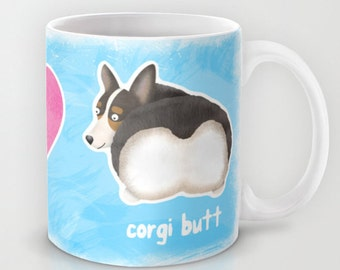 Pembroke Welsh Corgi Coffee Mug - Pet Lover Gift - Fluffy Butt - Corgi Butt Mug - Peace, Love, Corgi Butt