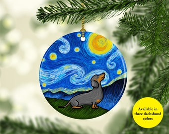 Dachshund Ornament - Available in three different dachshund colors - Starry Night Dachshund Oranment