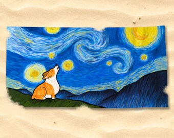 "Pembroke or Cardigan Corgi Beach Towel - Starry Baroo 30"" x 60"" or 36"" x72"""