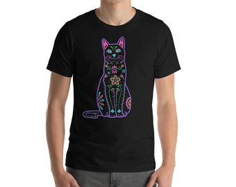 Color Sugar Skull Cat - Short-Sleeve Unisex T-Shirt