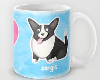 Cardigan Welsh Corgi Coffee Mug - Pet Lover Gift - Cardigan Corgi - Corgi Coffee Mug - Peace, Love, Corgis