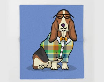 "Basset Hound  Blanket - Hipster Basset Hound  - sizes - 50"" x 60"" or 60"" x 80"" - Choose Background Color"