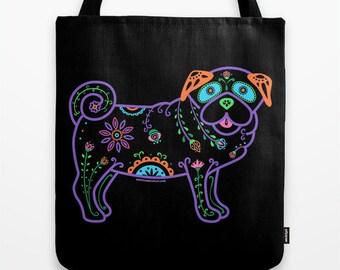 Color Sugar Skull Pug Tote Bag - Dia de los Muertos - Dia de los Pugs - Pug Tote Bag - Pug - Pet Lover Gift