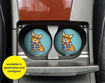 Corgi Car Coasters - Set of 2 Corgi Sandstone Car Coasters - Unique Corgi Gift - Pembroke and Cardigan Corgis - Corgeek