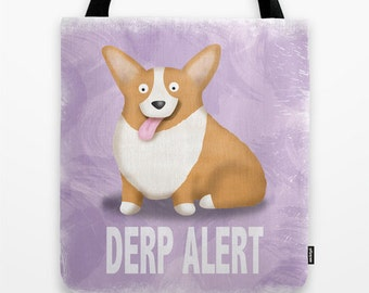Pembroke Welsh Corgi Tote Bag - Corgi - Pet Lover Gift - Derp - CHOOSE BACKGROUND COLOR