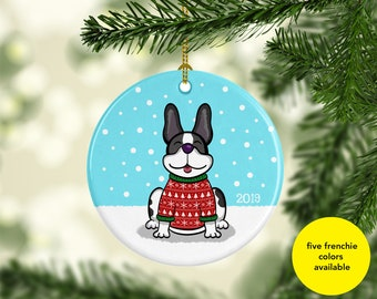 French Bulldog Ornament - Five French Bulldog Colors to choose from - Ugly Sweater French Bulldog Ornament - 2019