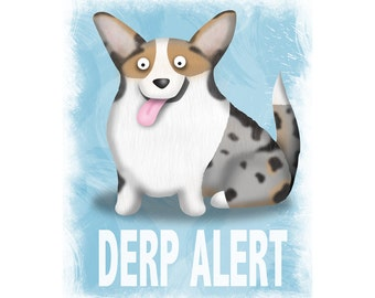 Cardigan Corgi Art Print - Blue Merle Corgi - Pet Lover Gift - Derp - CHOOSE BACKGROUND COLOR