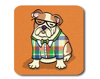 English Bulldog Coasters - Fun English Bulldog Coasters - Set of 4 - English Bulldog Gift - Choose Background Color