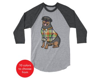 Rottweiler Raglan 3/4 Sleeve Shirt - Rottweiler Shirt - Rottweiler Gift - Rottweiler T Shirt
