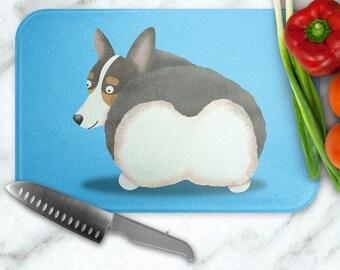 Corgi Glass Cutting Board - Corgeek Corgi cutting board - Pembroke and Cardigan Corgis available - choose background color