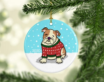 2020 English Bulldog Ornament - Ugly Sweater English Bulldog Ornament - 2020
