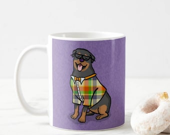 Rottweiler Mug - Pet Lover Gift - Choose Background Color - Rottweiler Gift