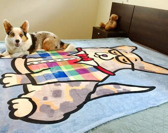 "Corgi Blanket - Corgeek -  50"" x 60"" or 60"" x 80"" - Pembroke and Cardigan Corgi Blanket"
