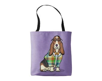Basset Hound Tote Bag - Basset Hound Lover Gift - Choose Background Color