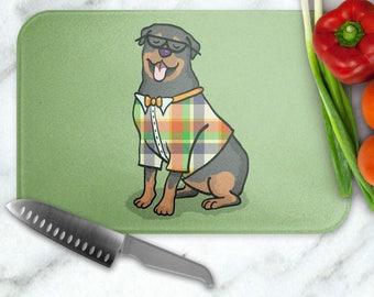 Rottweiler - Rottweiler Glass Cutting Board - Rottweiler cutting board - Rottweiler gift - choose background color