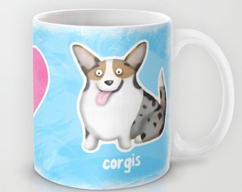Peace, Love, Corgis - Blue Merle Cardigan Corgi Coffee Mug - Pet Lover Gift -  Corgi Mug