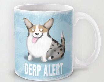 Cardigan Corgi Coffee Mug- Blue Merle Corgi - Pet Lover Gift - Derp - CHOOSE BACKGROUND COLOR