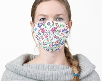 Corgi Face Mask - Sugar Skull Corgi Face Mask - Face Mask Coverlet - Color on White