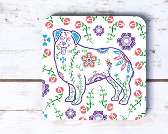 Sugar Skull Australian Shepherd Coasters - Set of 4