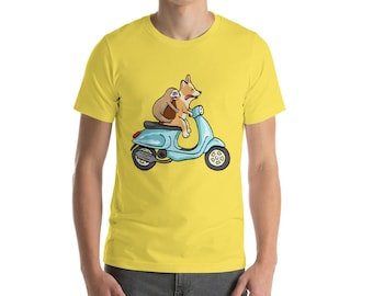 Red Headed Tri Corgi with Sloth on Vespa - Short-Sleeve Unisex T-Shirt