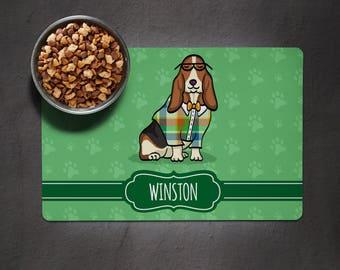 Personalized Basset Hound Placemat - Dog Bowl Place Mat - Basset Hound  - choose color scheme/frame shape/font