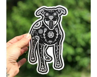 PIt Bull Decal - Sugar Skull Pit Bull Decal - Pit Bull Sticker - Pit Bull Bumper Sticker - Pit Bull Laptop Sticker - Pit Bull gift Car Decal