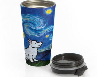 Westie Stainless Steel Travel Mug - Starry Baroo - West Highland Terrier - Starry Night