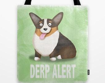 Pembroke Welsh Corgi Tote Bag - Corgi - Pet Lover Gift - Derp - Black Headed Tri Corgi - CHOOSE BACKGROUND COLOR