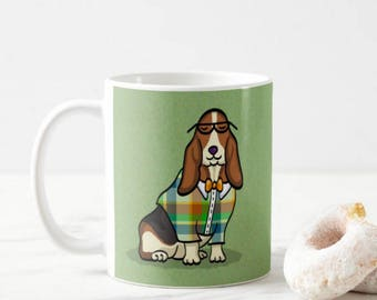 Basset Hound Mug - Pet Lover Gift - choose background color