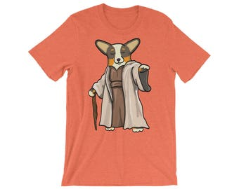 Corgi Shirt - Yoda Corgi Tee Shirt - Black Headed Tri Pembroke - Unisex short sleeve t-shirt
