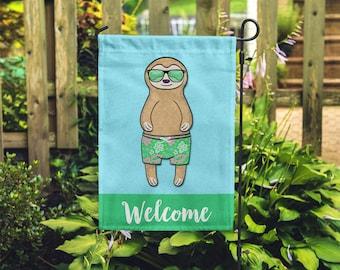 Sloth Garden Flag (BOY) - Unique Sloth Gift - BOY Sloth Garden Flag