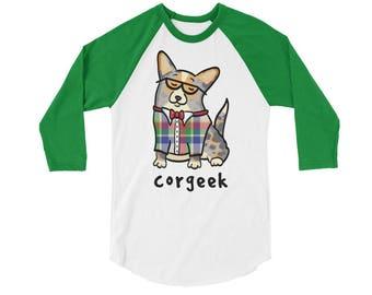 Corgeek Raglan 3/4 Sleeve Shirt - Cardigan Corgi Shirt - Merle Tan Cardigan Corgi