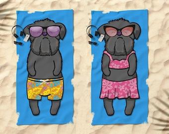 """Black Brussels Griffon Beach Towel - Brussels Griffon Gift - 30"""" x 60"""" or 36"""" x 72"""" - Boy or Girl Sunbathing Brussels Griffon"""