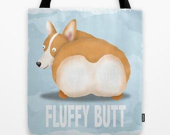 Pembroke Welsh Corgi Tote Bag - Corgi - Pet Lover Gift - Fluffy Butt