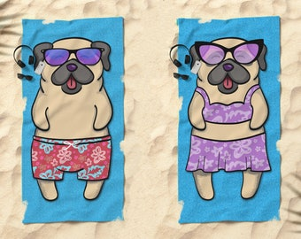 "Pug Beach Towel - Pug Gift - 30"" x 60"" or 36"" x 72"" - Gift for Pug Lovers - Choose between Boy or Girl Sunbathing Beach Pug"