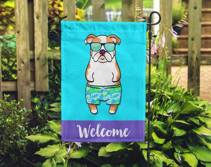 Featured listing image: English Bulldog Garden Flag (BOY) - Unique English Bulldog Gift - BOY Sunbathing English Bulldog Garden Flag