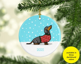 2021 Dachshund Ornament - Available in three different dachshund colors - Ugly Sweater Dachshund Ornament - 2021