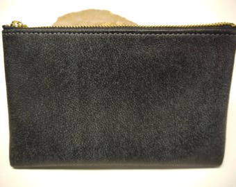 Leather Pouch Soft Fine Quality Made in USA CHARCOAL