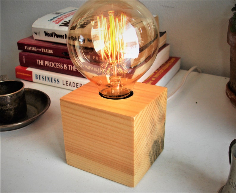 globe bulb Features an in-line DIMMER switch 6 Free Ship Solid White Pine table lamp with a 3 dai