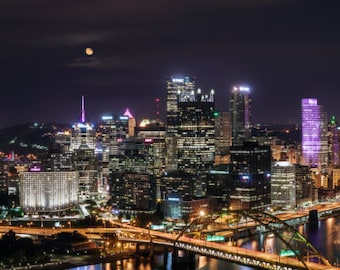 Pittsburgh, Heinz Field and PNC Park with Harvest moon Panoramic Photo